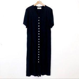 Vintage 90s grunge button front maxi dress black